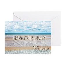 35th birthday, writing on a beach Greeting Cards