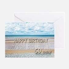 50th birthday, writing on a beach Greeting Cards