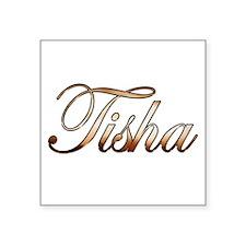 """Gold Tisha Square Sticker 3"""" x 3"""""""