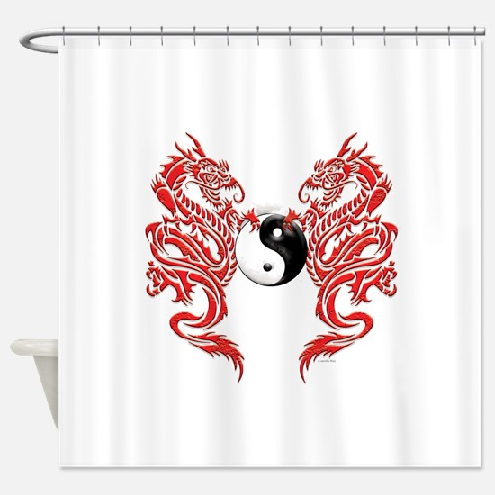 Dragons (W).png Shower Curtain