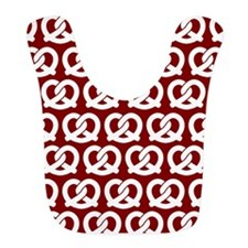 Red and White Twisted Yummy Prestzels Pattern Bib