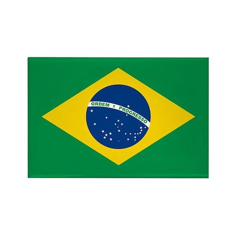 """""""Brazil Flag"""" Rectangle Magnet (100 pack)"""
