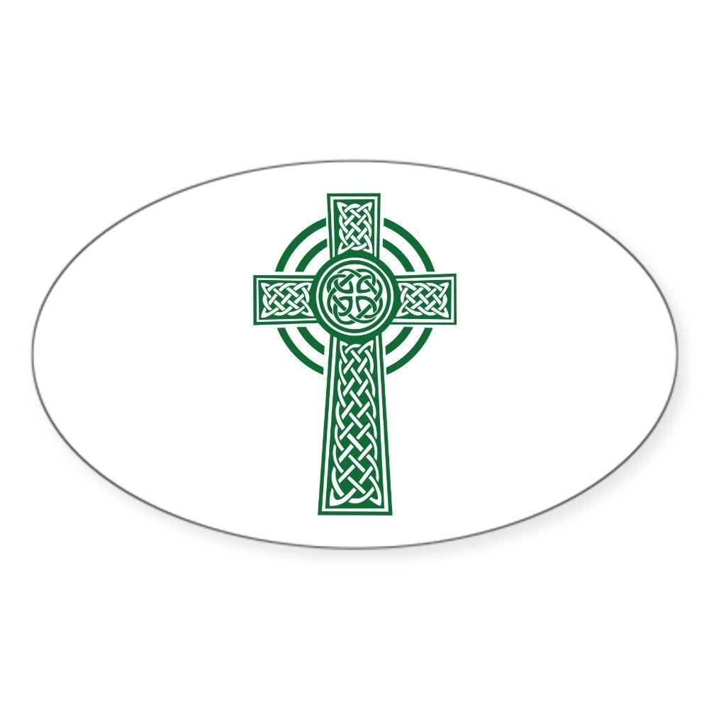 1488031320 CafePress Celtic Cross Oval Bumper Sticker Euro Oval Car Decal