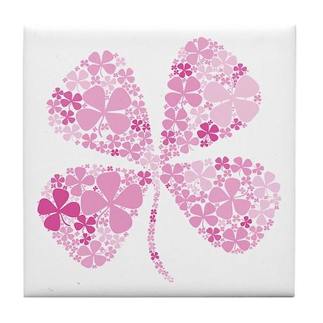 Lucky Pink Four Leaf Clover Tile Coaster