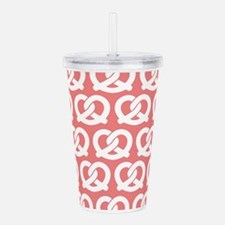 Light Coral and White Acrylic Double-wall Tumbler