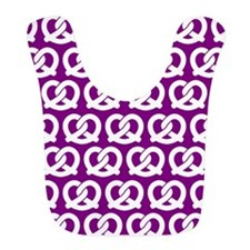 Purple and WhiteTwisted Yummy Pretzels Pattern Bib