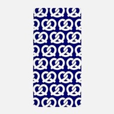 Navy and White Twisted Yummy Pretzels Beach Towel