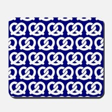 Navy and White Twisted Yummy Pretzels Pa Mousepad