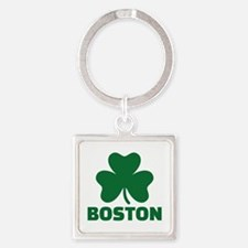 Boston shamrock Square Keychain