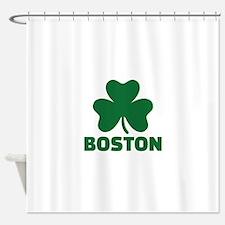 Boston shamrock Shower Curtain