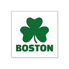 "Boston shamrock Square Sticker 3"" x 3"""