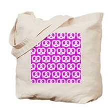Fuchsia and White Twisted Yummy Pretzels Tote Bag