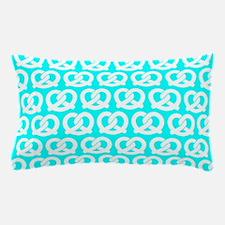 Aqua and White Twisted Yummy Pretzels Pillow Case