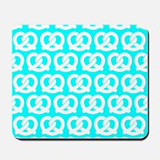 Aqua and White Twisted Yummy Pretzels Pa Mousepad