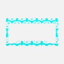 Aqua and White Twisted Yummy License Plate Holder