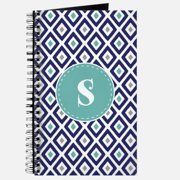 Navy Blue Ikat Diamond Pattern Monogram Journal