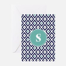 Navy Blue Ikat Diamond Pattern Monogram Greeting C