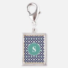 Navy Blue Ikat Diamond Pattern Monogram Charms