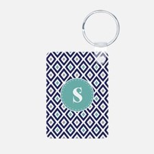 Navy Blue Ikat Diamond Pattern Monogram Keychains