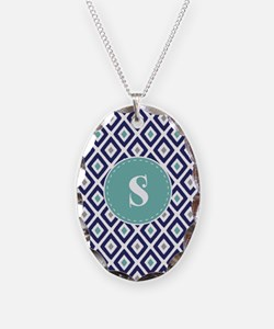 Navy Blue Ikat Diamond Pattern Monogram Necklace
