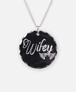 Vintage Wifey Necklace Circle Charm