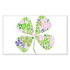 Lucky Multi Four-Leaf Clover Rectangle Decal