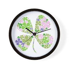 Lucky Multi Four-Leaf Clover Wall Clock
