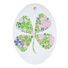 Lucky Multi Four-Leaf Clover Oval Ornament