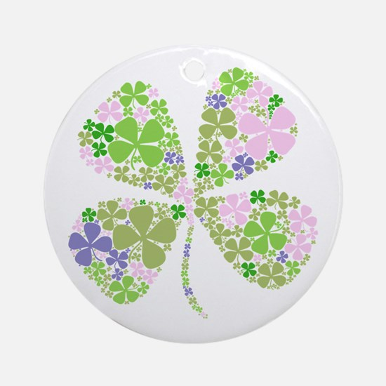 Lucky Multi Four-Leaf Clover Ornament (Round)