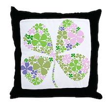 Lucky Multi Four-Leaf Clover Throw Pillow