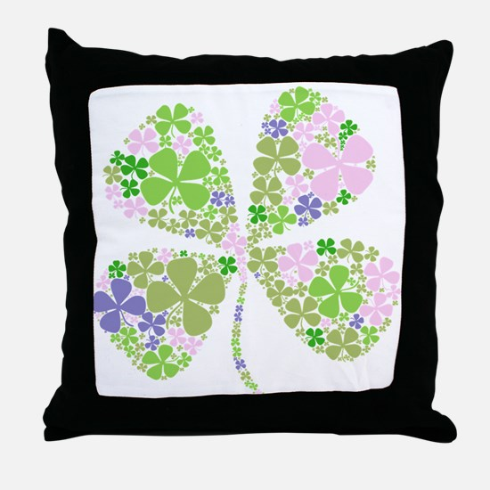 Lucky Multi Four-Leaf Clover Throw Pillow