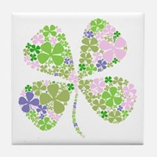 Lucky Multi Four-Leaf Clover Tile Coaster