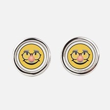 Grandpa Smiley Round Cufflinks