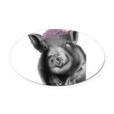 Princess lucy the wonder pig Oval Car Magnet