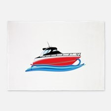 Sleek Red Yacht in Blue Waves 5'x7'Area Rug