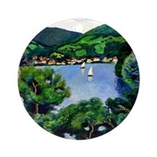 Macke - View of Tegernsee Round Ornament