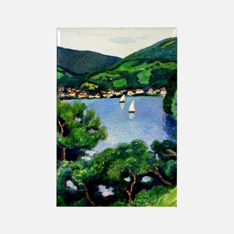 Macke - View of Tegernsee Rectangle Magnet