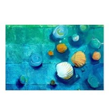 Blue Green Shells Colorful Abstract Art Postcards
