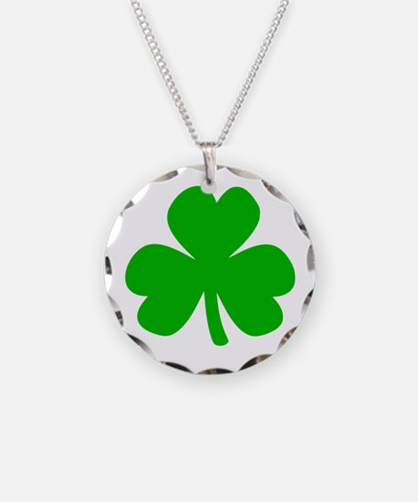 Three Leaf Clover Necklace Circle Charm