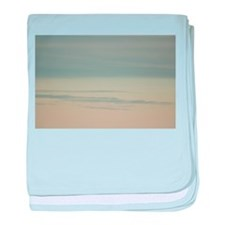 Sky with clouds in blue and pink suns baby blanket