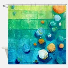 Blue Green Shells Colorful Abstract Art Shower Cur