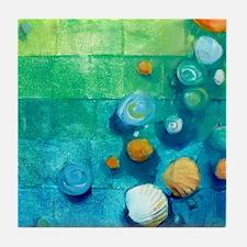 Blue Green Shells Colorful Abstract Art Tile Coast