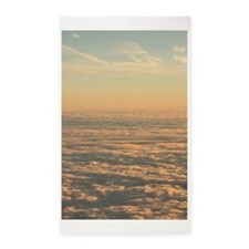 Sky with clouds in blue and pink sunset e Area Rug