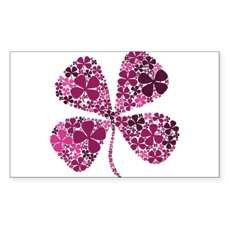 Lucky Fuschia Four Leaf Clover Sticker (Rectangula