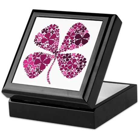 Lucky Fuschia Four Leaf Clover Keepsake Box