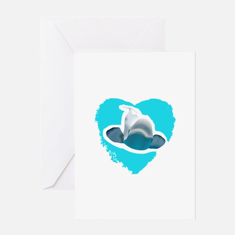 BELUGA WHALE IN HEART Greeting Cards