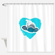 BELUGA WHALE IN HEART Shower Curtain