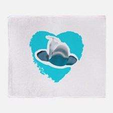 BELUGA WHALE IN HEART Throw Blanket