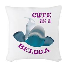 CUTE AS A BELUGA Woven Throw Pillow