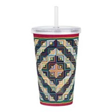 Block Quilt Pattern Acrylic Double-wall Tumbler